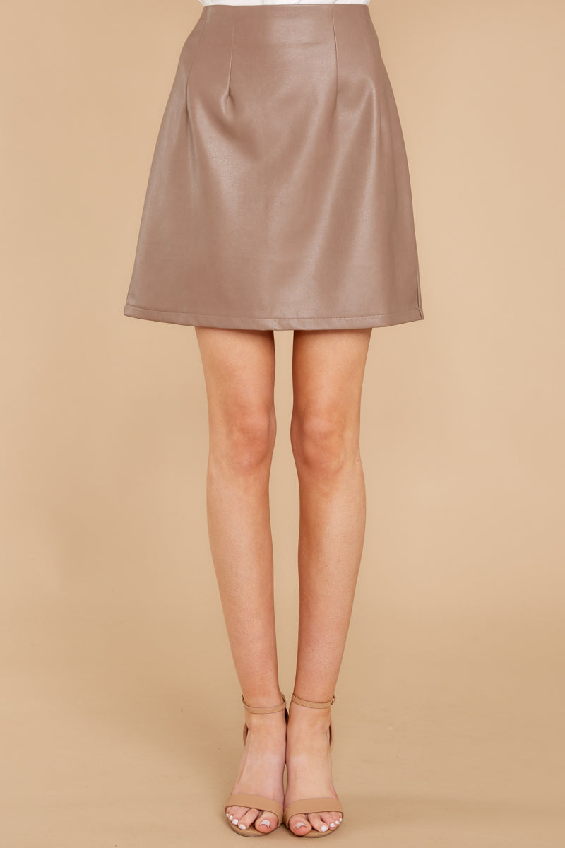 Another Drama Taupe Faux Leather Skirt