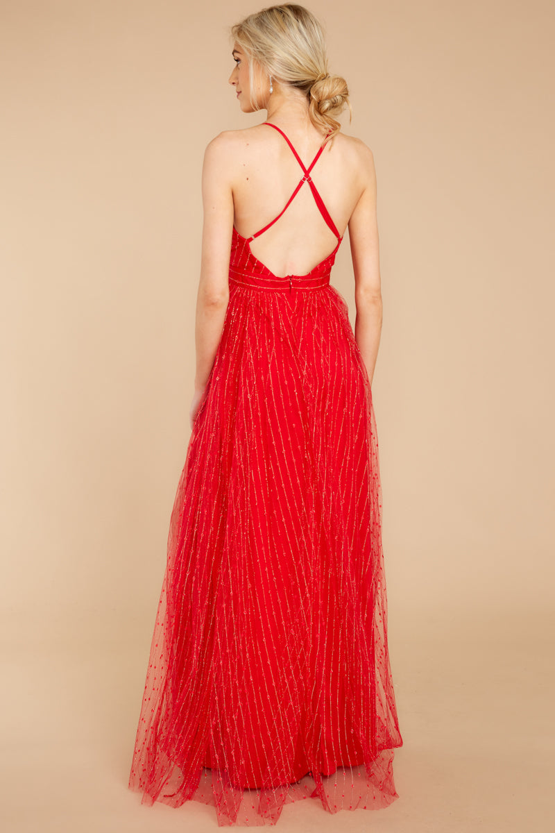 d956024f7f Sexy Red Tulle Maxi Gown - Flowy Red Formal Dress - Dress - $66.00 ...
