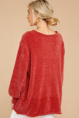 Break Even Rust Chenille Sweater