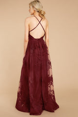 In Any Event Burgundy Maxi Dress