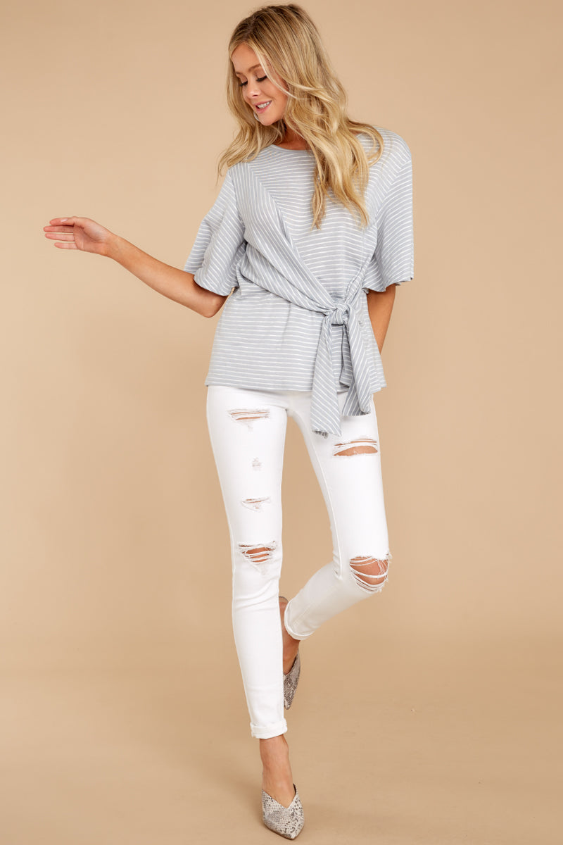 There's A Thin Line Grey Stripe Tie Top
