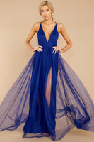 V-neck Polyester Mesh Hidden Back Zipper Ruched Slit Fitted Plunging Neck Spaghetti Strap Maxi Dress