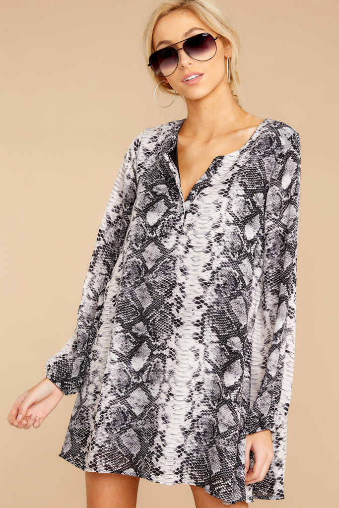 1 Enthralling Charmer Grey Snake Print Dress at reddressboutique.com