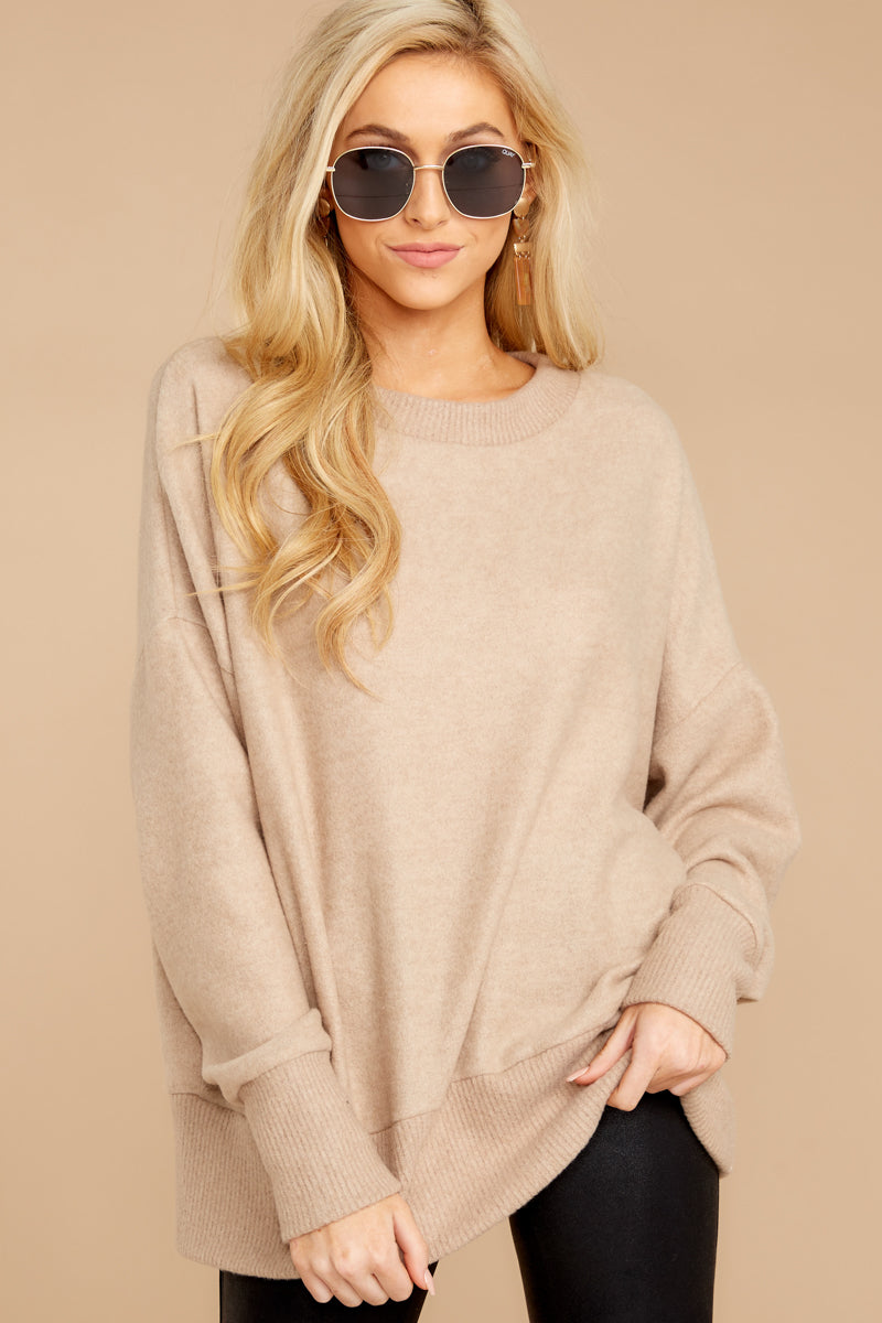 3 Day After Day Taupe Sweater at reddressboutique.com