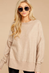 4 Day After Day Taupe Sweater at reddressboutique.com