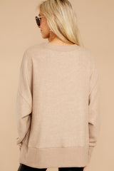6 Day After Day Taupe Sweater at reddressboutique.com