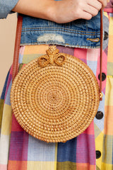 2 Smile Often Tan Round Bag at reddressboutique.com