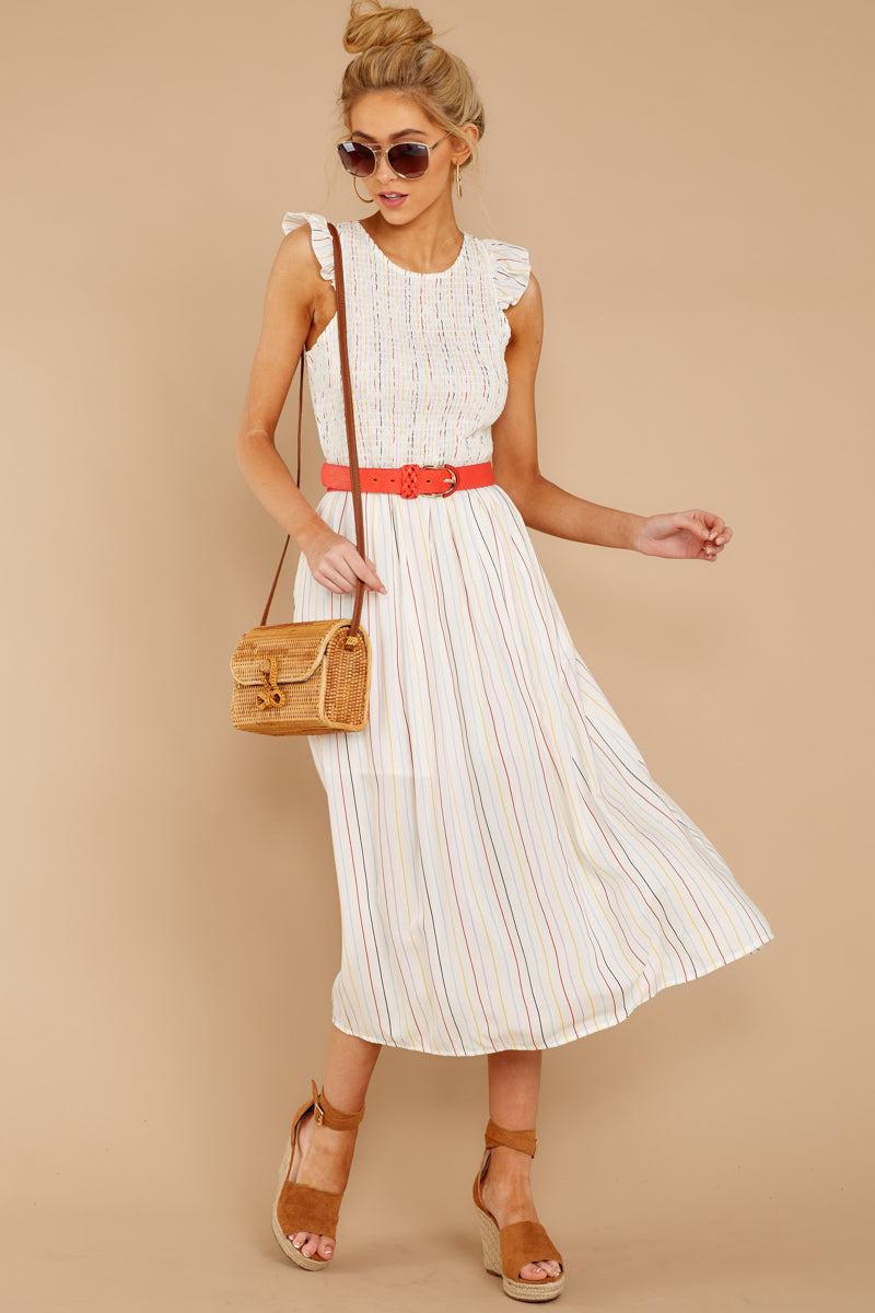 de610145590 Fun White Multi Stripe Midi Dress - Cute Sleeveless Midi - Dress ...