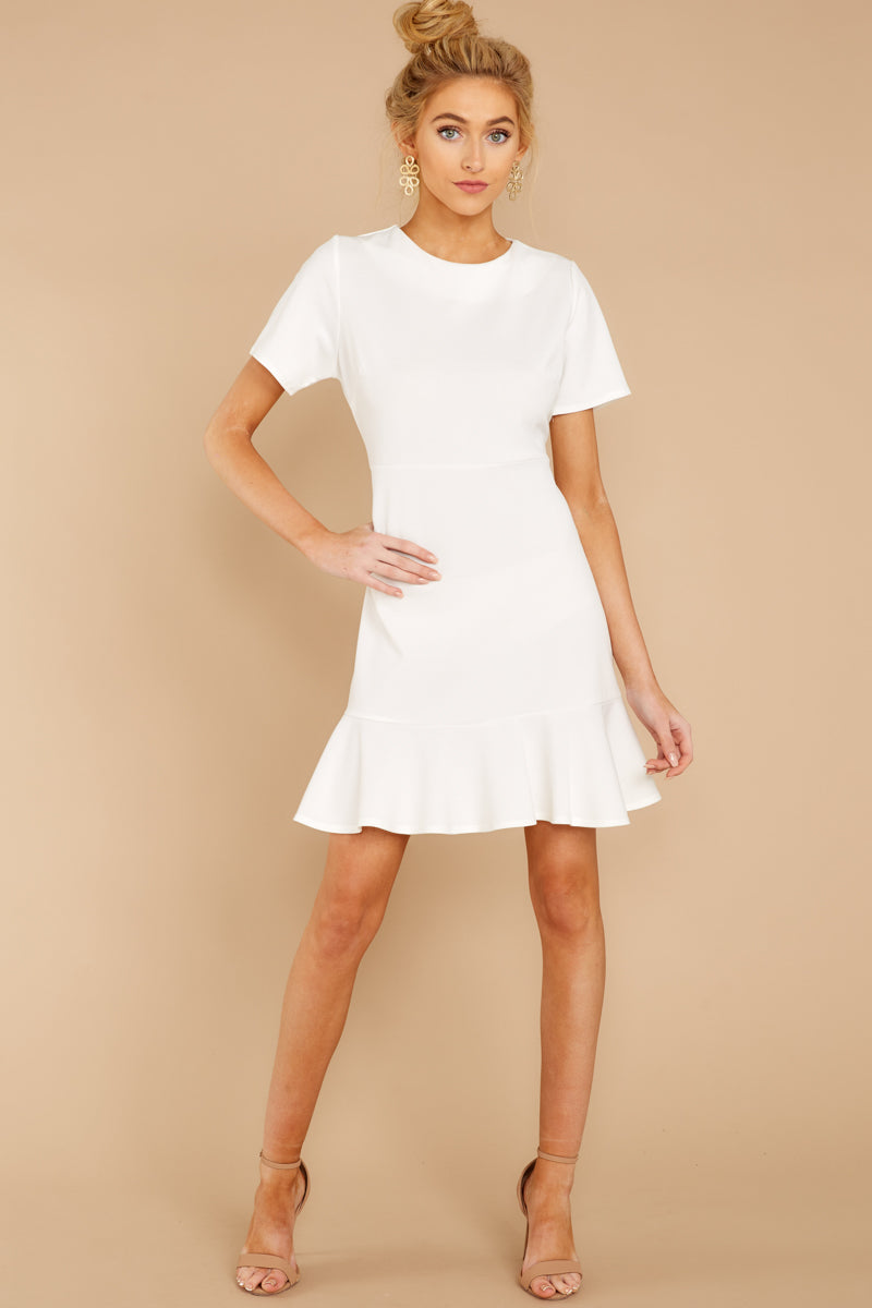 e8b2495d1c0 Classic White Short Sleeve Dress - Flowy Ruffled Dress - Dress -  32 ...