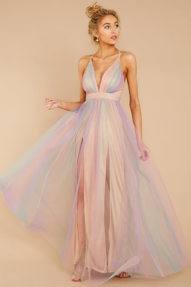 9cfe530988 Dreamy Pastel Rainbow Gown - Deep V Tulle Maxi - Maxi Dress -  72.00 ...