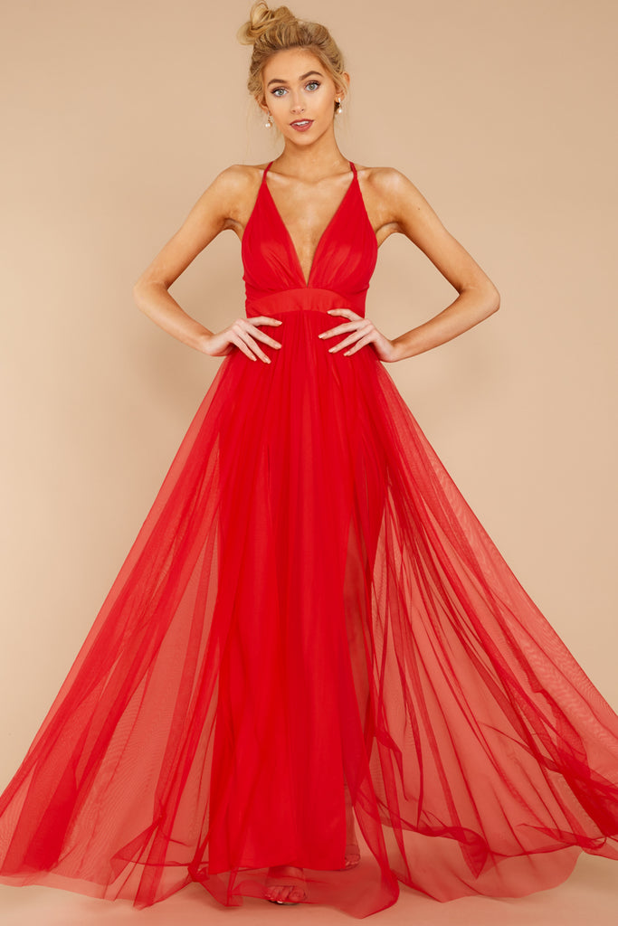 760f2846f5da1 Gorgeous Red Tulle Maxi Dress - Flowy Backless Gown - Dress - $68.00 ...