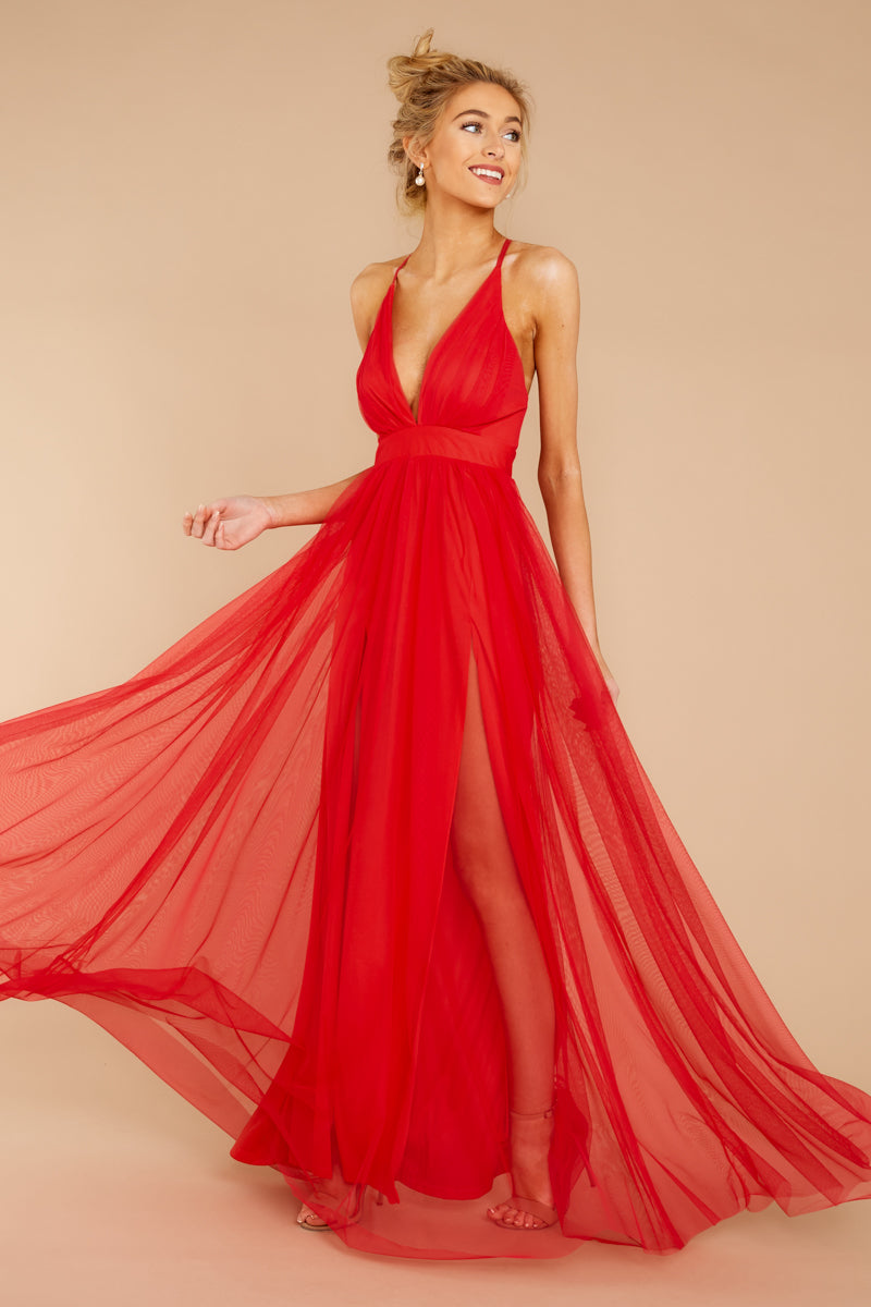 Matters Of The Heart Red Maxi Dress