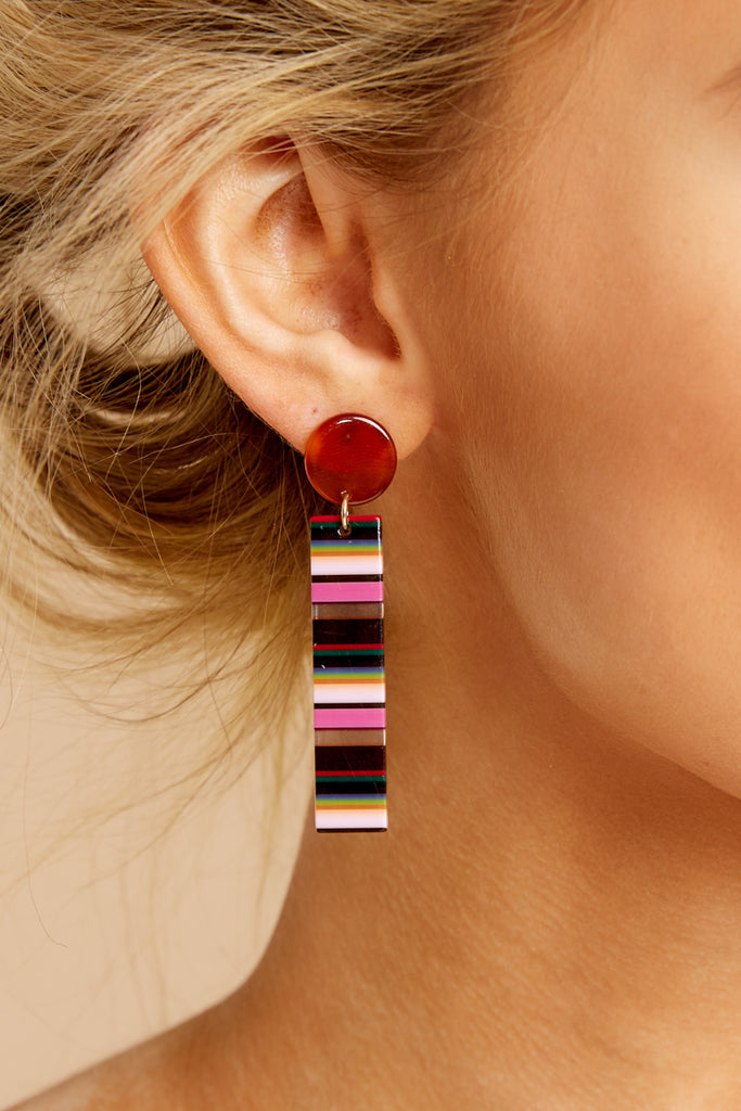 Focus On This Pink Multi Acrylic Earrings