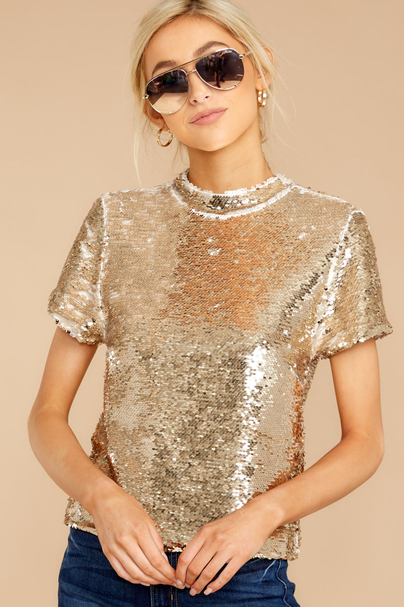 Rhyme Nor Sequin Gold Top