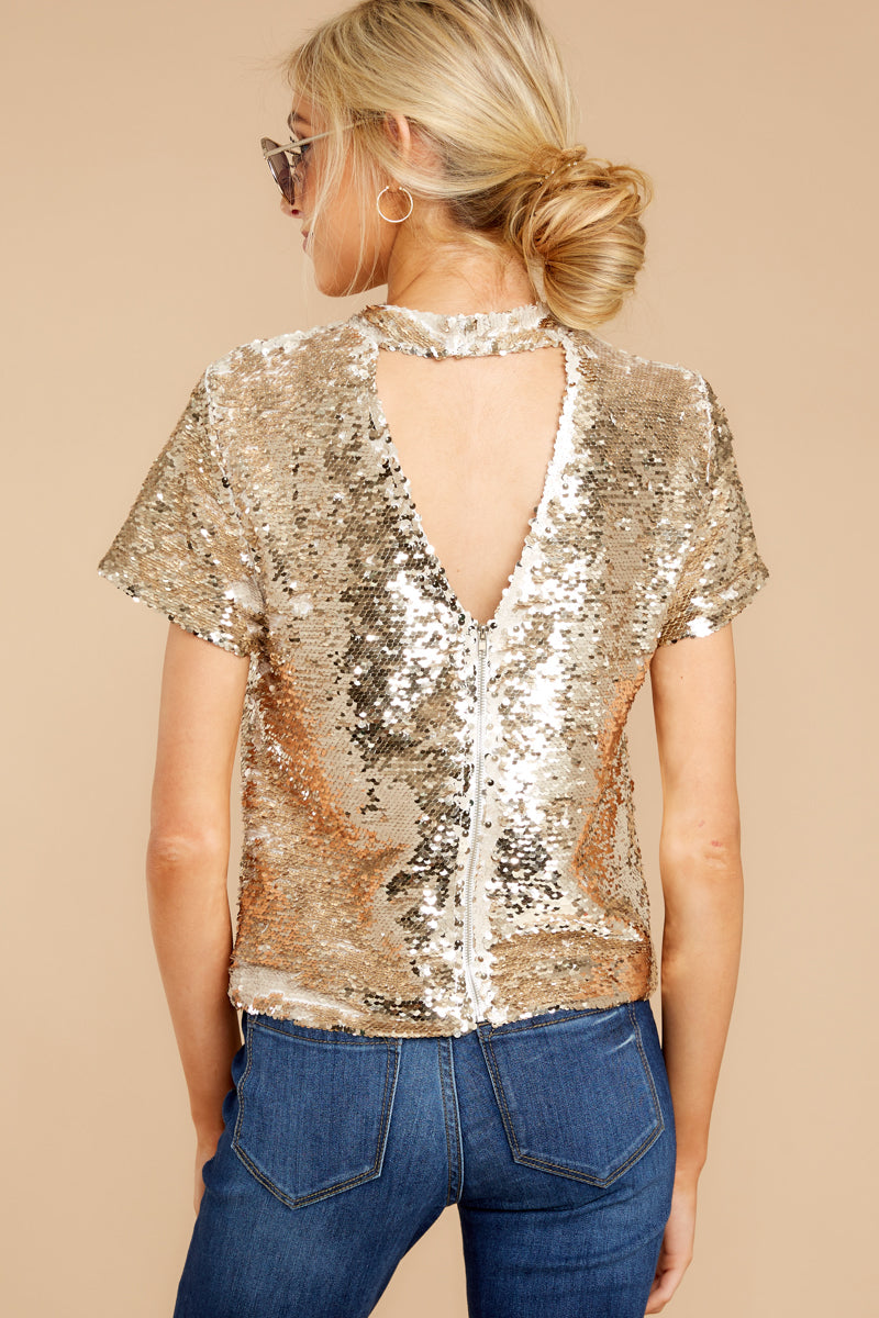 c684a5da018d0 Sassy Beige And Gold Sequin Top - Reversible Sequin Shirt - Top ...