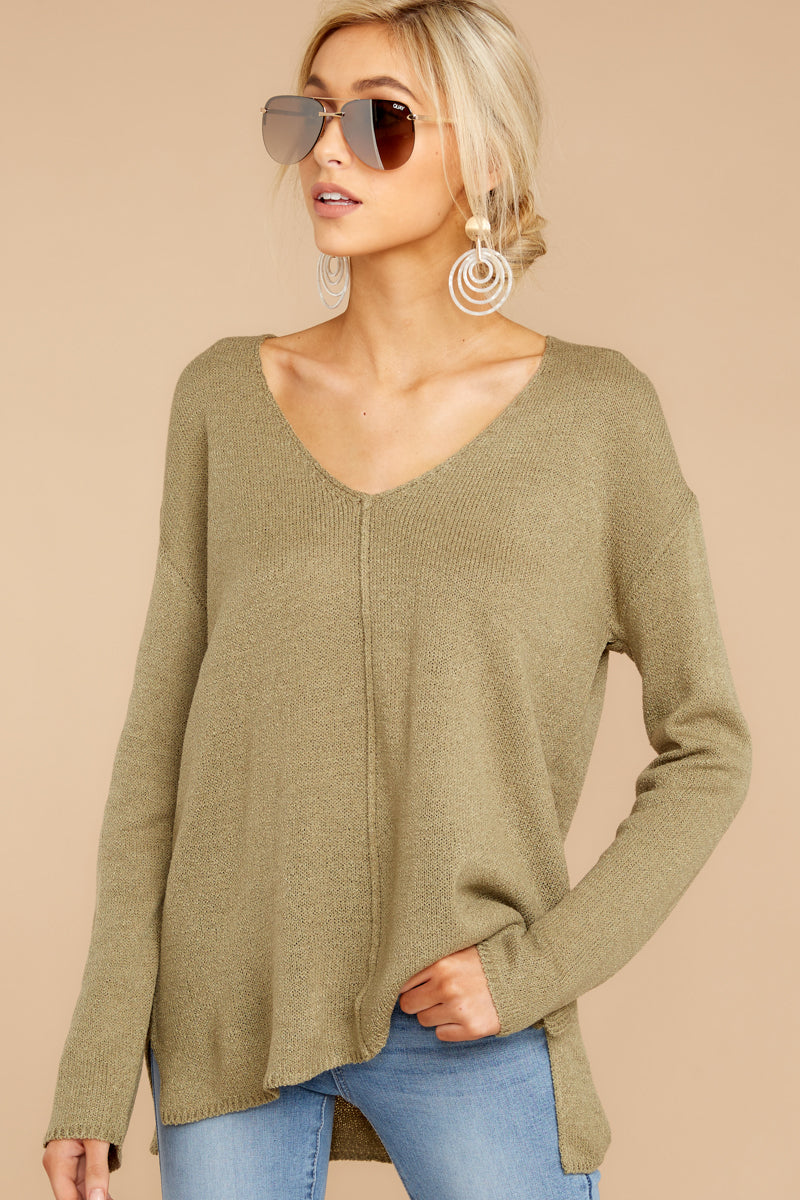 3 Stay Here Moss Sweater at reddressboutique.com
