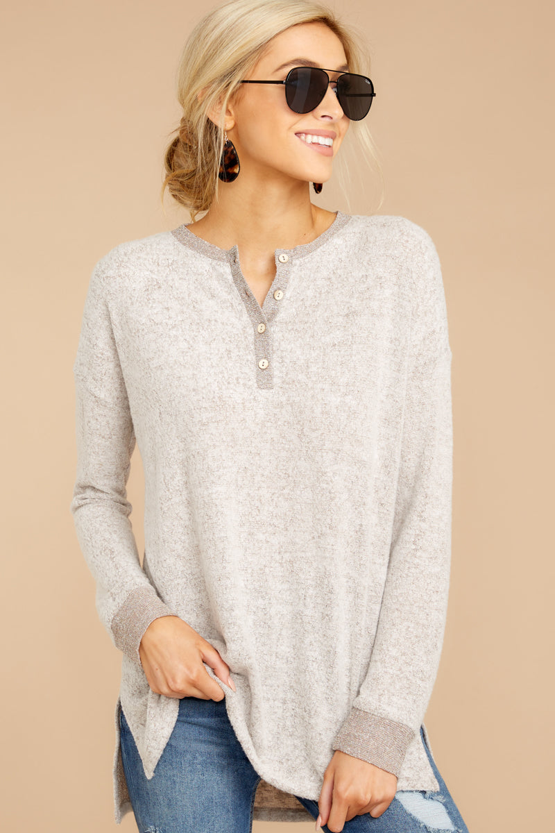 Always A Favorite Taupe Henley Top