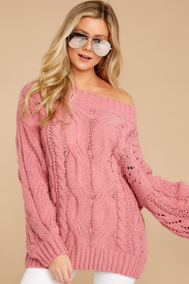 cc8f3408ae03 Flirty Pink Cable Knit Sweater - Soft Oversized Sweater - Top ...