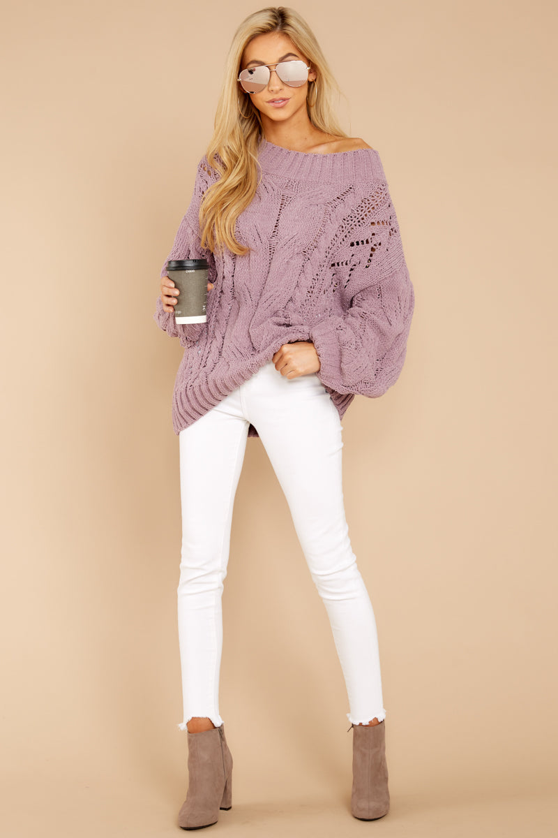 Cute Purple Oversized Sweater - Chunky Cable Knit Sweater - Top ... 3b68fcbef