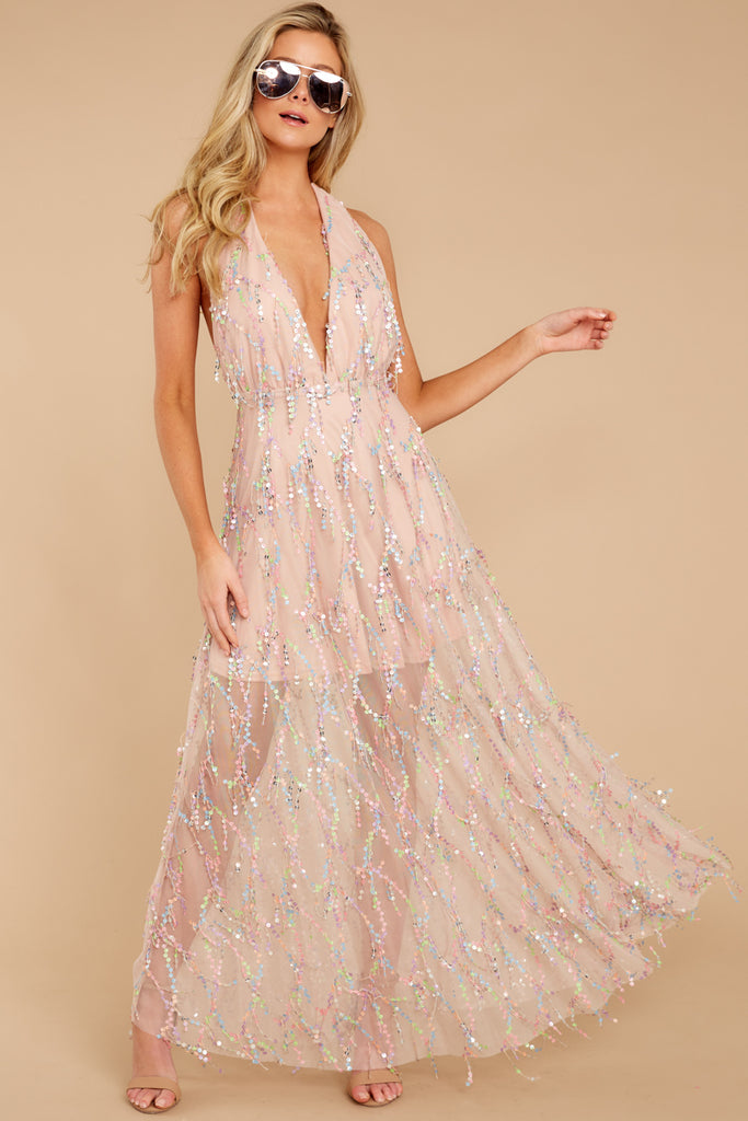 1 Never Ending Party Rose Gold Shimmery Maxi Dress at reddressboutique.com