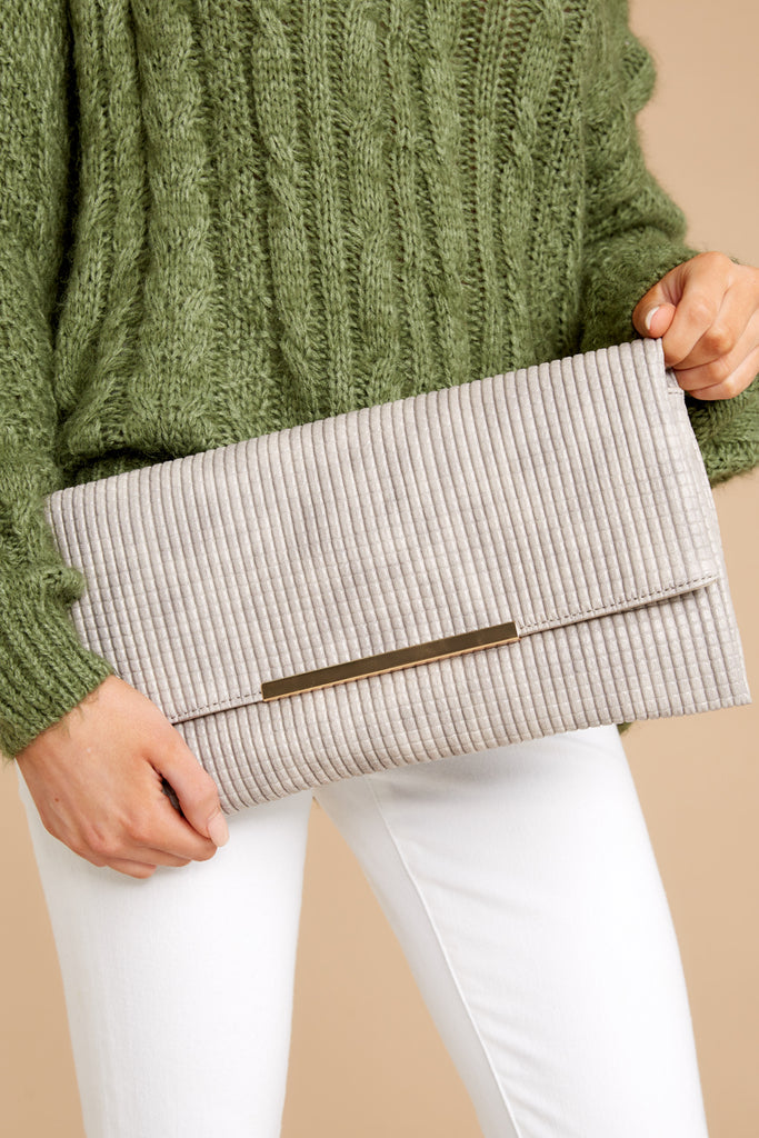 7 Clear To See Beige Clutch at reddressboutique.com