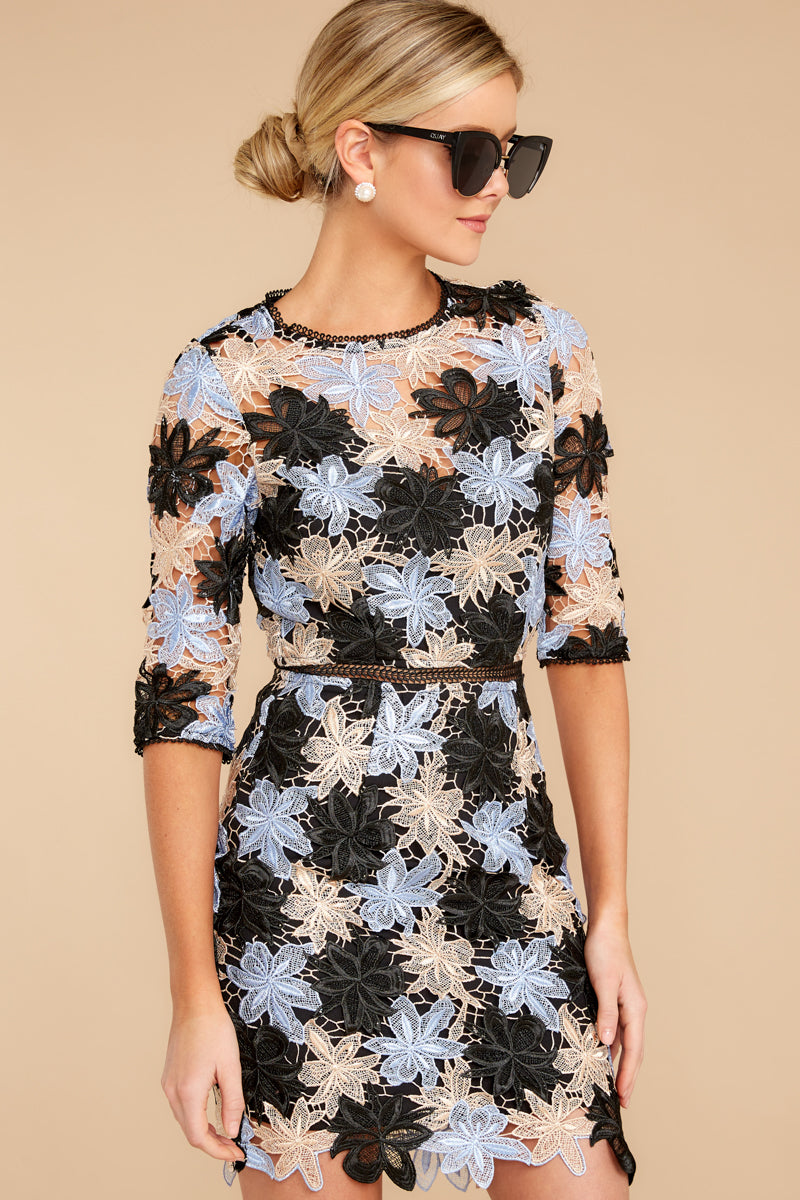 Just Tell Her Black Multi Lace Dress