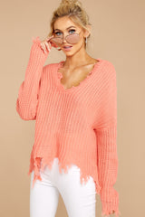 Unconditional Favorite Salmon Sweater at reddressboutique.com