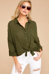 Day At The Louvre Olive Button Up Tie Top at reddressboutique.com
