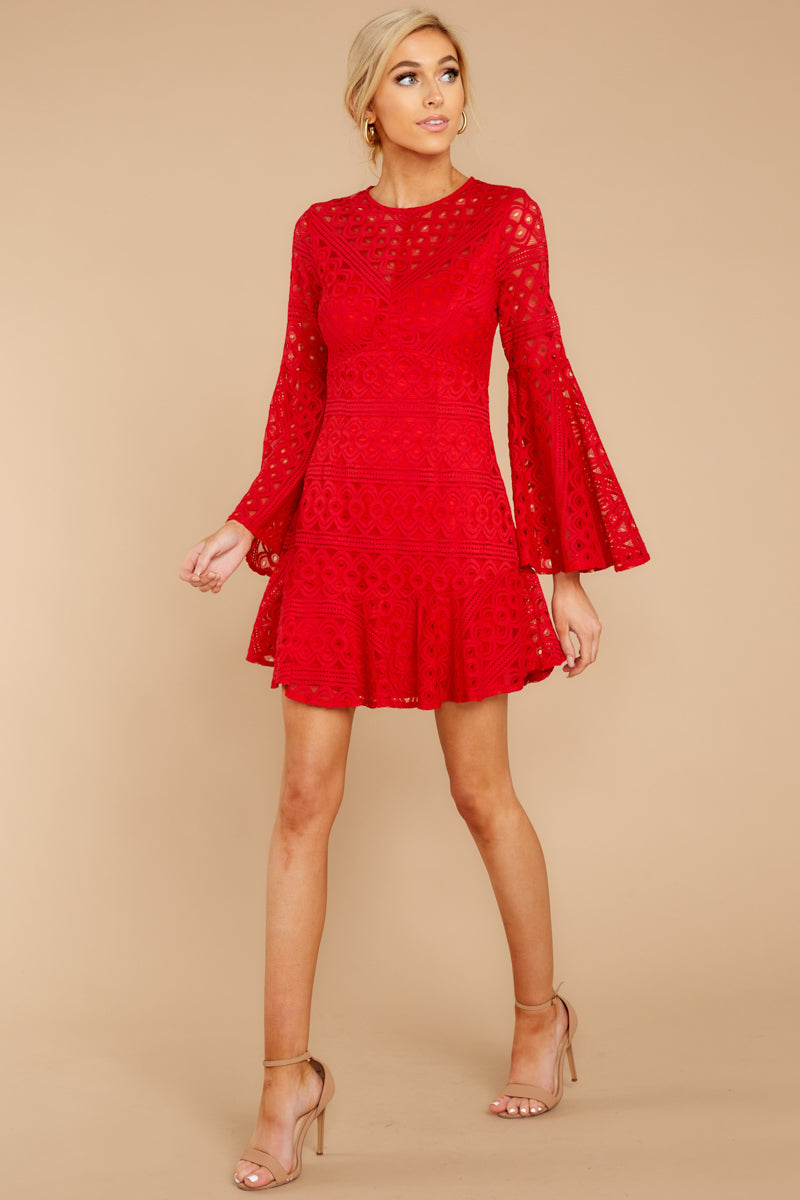 23695a8a17b Elegant Red Lace Dress - Short Long Sleeve Dress - Dress -  52.00 ...