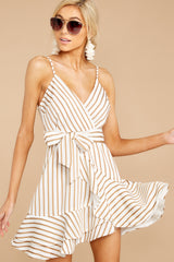 Swaying And Swooping Gold Stripe Dress