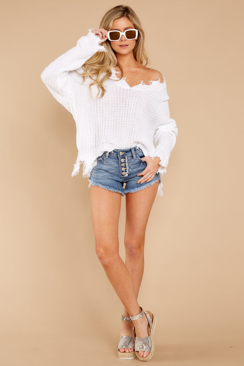 5 Heartbreak Girl Light Wash Distressed Denim Shorts at reddress.com