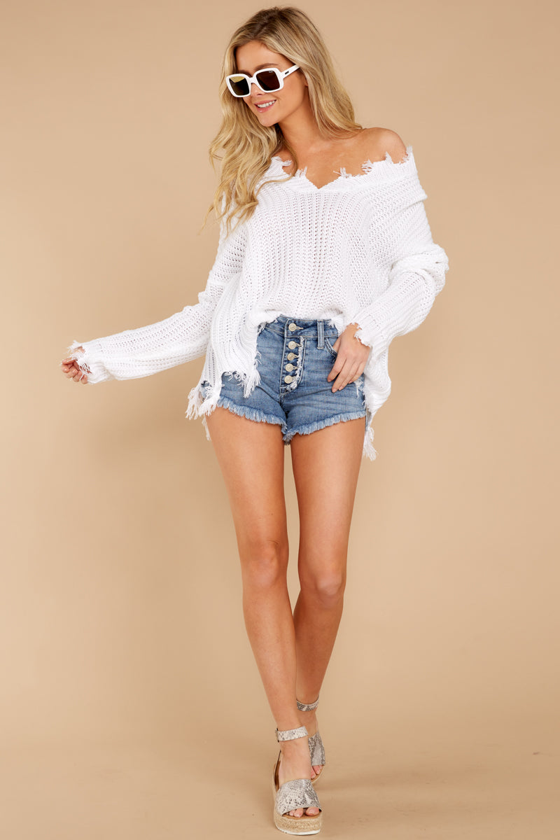 6 Heartbreak Girl Light Wash Distressed Denim Shorts at reddress.com