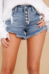 1 Heartbreak Girl Light Wash Distressed Denim Shorts at reddressboutique.com