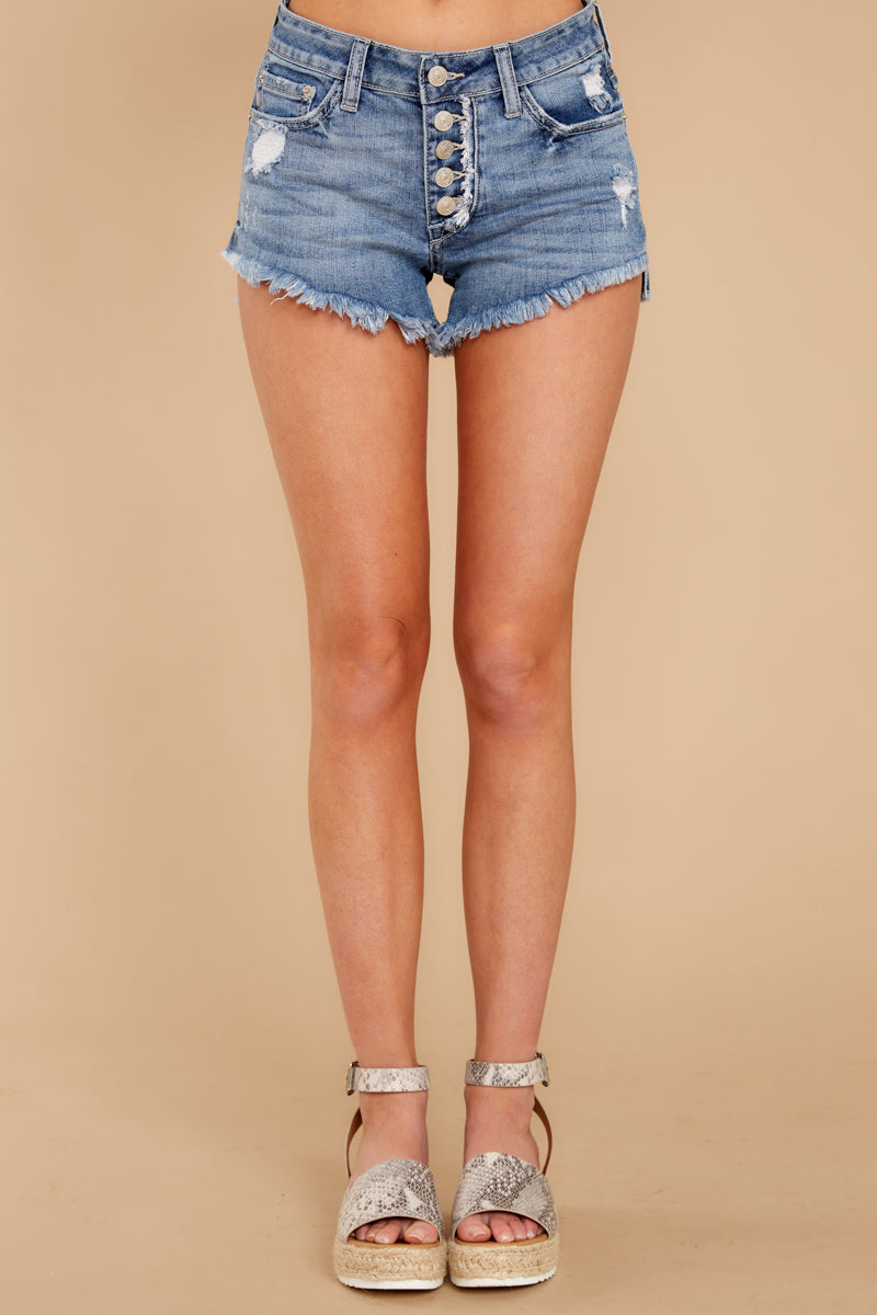 2 Heartbreak Girl Light Wash Distressed Denim Shorts at reddress.com