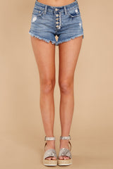 2 Heartbreak Girl Light Wash Distressed Denim Shorts at reddressboutique.com