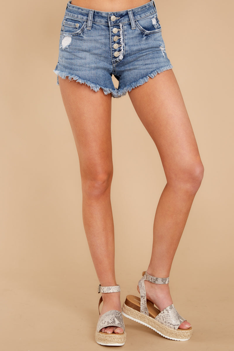3 Heartbreak Girl Light Wash Distressed Denim Shorts at reddress.com