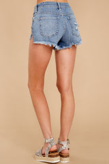 4 Heartbreak Girl Light Wash Distressed Denim Shorts at reddressboutique.com