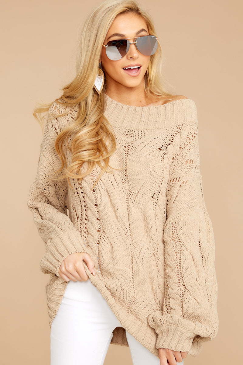 Something Is Calling You Tan Sweater