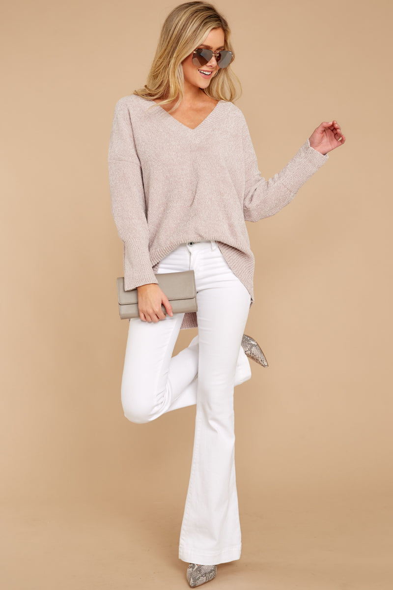 26d2f9c7252 Stylish Beige Chenille V Neck Sweater - Oversized Sweater - Top ...