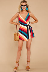 2 Ahead Of Myself Orange Multi Stripe Romper at reddressboutique.com