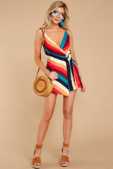 3 Ahead Of Myself Orange Multi Stripe Romper at reddressboutique.com