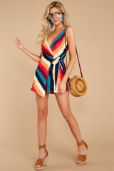 1 Ahead Of Myself Orange Multi Stripe Romper at reddressboutique.com