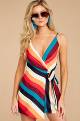 4 Ahead Of Myself Orange Multi Stripe Romper at reddressboutique.com