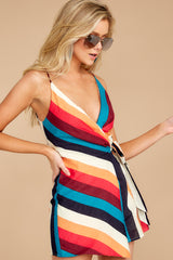 5 Ahead Of Myself Orange Multi Stripe Romper at reddressboutique.com
