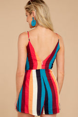 7 Ahead Of Myself Orange Multi Stripe Romper at reddressboutique.com