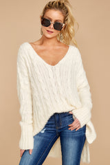 7 Me Myself And I Cream Sweater at reddressboutique.com