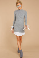 Raglan Sleeves Short Sweater Mock Neck Pencil-Skirt Dress