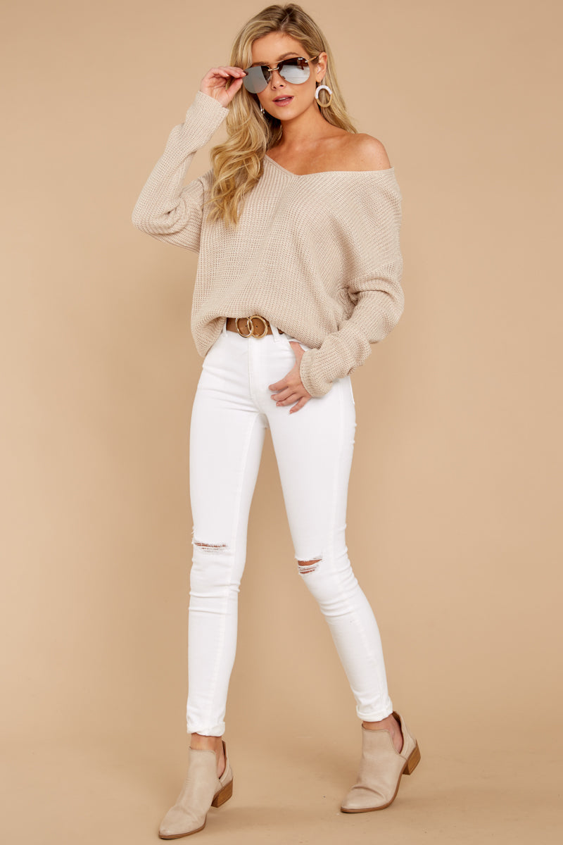 1 All Shook Up Beige Sweater at reddressboutique.com