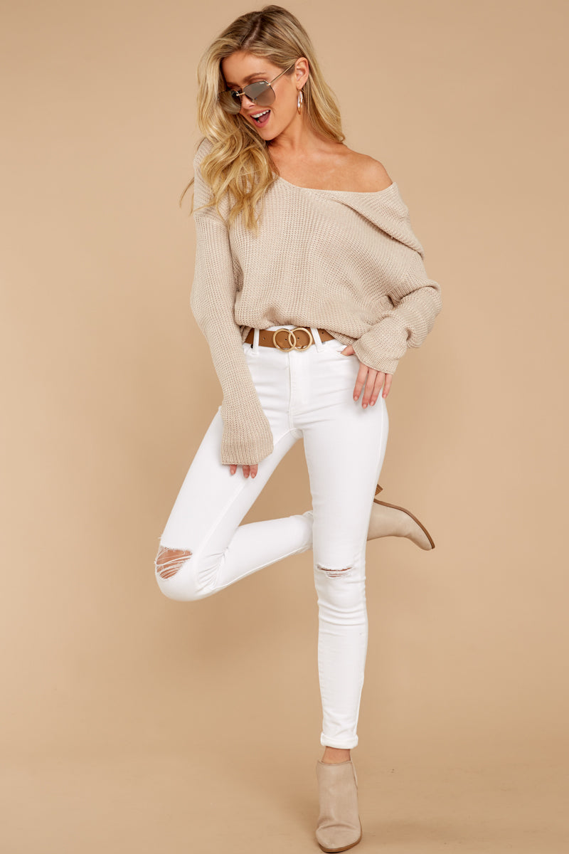 2 All Shook Up Beige Sweater at reddressboutique.com