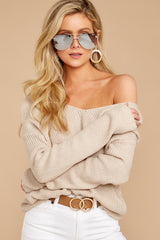 3 All Shook Up Beige Sweater at reddressboutique.com